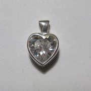 Sterling Silver Cubic Zirconia Rubover Large Heart Pendant